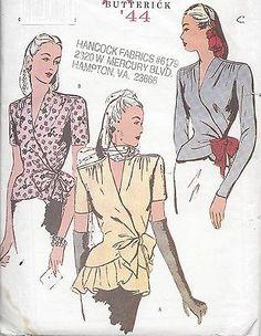 1944-Vintage-Sewing-Pattern-B34-36-38-WRAP-AROUND-BLOUSE-R813
