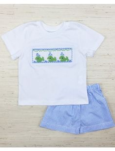 7d6a3416d Smocked whales on white cotton shirt. Blue gingham shorts with elastic  waist. Your little