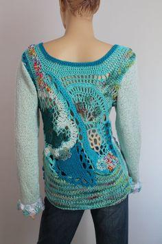 Boho Chic Freeform Crochet Knitting Embroidered Beaded Turquoise Ivory Sweater   - Wearable Art - OOAK