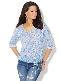Pretty! Shop Soft Textured Floral Drawstring Top. Find your perfect size online at the best price at New York & Company.