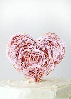 Small Ruffle Heart Cake Topper