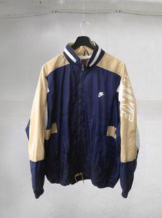 Vintage Casual 90's NIKE Premier Swoosh Big Logo Streetwear Windbreaker Sweater Blue Light Beige Nylon Jacket L by VapeoVintage on Etsy