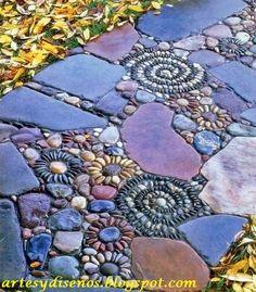 PISOS CON PIEDRAS PARA JARDINES by artesydisenos.blogspot.com