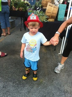 We loved Sullivan's fire fighter boots and hat at the market on Saturday!