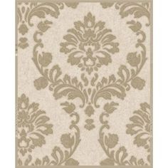 Graham and Brown 56 Square Foot - Dynasty Gold and Natural - Non-Pasted Vinyl Wallpaper Vinyl Wallpaper, Wallpaper Lounge, Grey Damask Wallpaper, Cream Wallpaper, Pattern Wallpaper, Brown And Cream Bedroom, Cream Bedrooms, Boutique Wallpaper, Accent Wall Bedroom