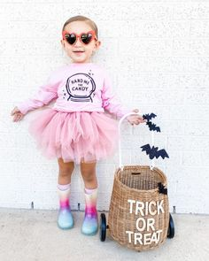 Our classic pink hand me the candy is back - for a limited time! We won't be restocking this so - grab it while you can! Stay cozy, cute and spooky! Little Girl Halloween Costumes, Fun Halloween Games, Pink Halloween, Halloween Costumes For Girls, Little Girl Tutu, Little Girls, Tutus For Girls, Trick Or Treat, Rain Boots