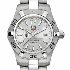 "University of Wisconsin TAG Heuer Watch - Women's Steel Aquaracer Watch by TAG Heuer. $1995.00. Swiss-made Quartz movement.. Unique TAG Heuer presentation box.. TAG Heuer international two-year warranty. Officially licensed by University of Wisconsin. Authentic TAG Heuer watch only at M.LaHart & Co.. Wisconsin TAG Heuer Aquaracer watch with UW-Madison crest in black; ""University of Wisconsin"" is written underneath. Brushed and Polished steel bracelet with double security clas..."