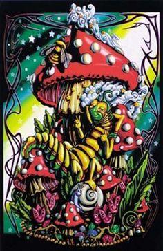 Alice In Wonderland Caterpillar Black Light Poster 23x35