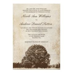 ShoppingVintage Brown Oak Tree Wedding Invitations InvitationsThis site is will advise you where to buy
