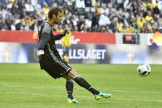 Goalkeeper Andreas Isaksson of Sweden during the international friendly between Sweden and Wales at Friends Arena on June 5, 2016 in Solna, Sweden.