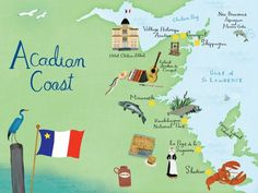 New Brunswick , Acadian coast map by Anne Smith.