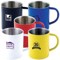 Durable and Stylish Stainless Steel Coffee Mugs. All can be printed or laser engraved with your logo or design.