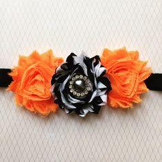Orange, black and white embellished headband, halloween headband, halloween photo prop, shabby flower headband, baby hair, holiday headband by chicnclassy on Etsy
