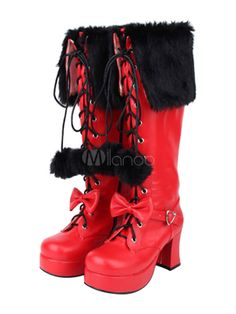 Sweet Lolita Boots Platform Chunky Heel Lace Up Square Toe Bows Two Tone Red Lolita Winter Boots