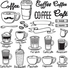 A set of coffee related icon set. Every icon is grouped individually. - Coffee Icon - Ideas of Coffee Icon - coffee icon sets vector art illustration Doodle Drawings, Doodle Art, Easy Drawings, Coffee Icon, Coffee Art, Coffee Meme, Coffee Poster, Coffee Signs, Funny Coffee