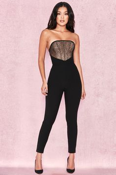 8298c86966eb Clothing   Jumpsuits    Beulla  Black + Beige Lace Panel Strapless Jumpsuit  Strapless Jumpsuit