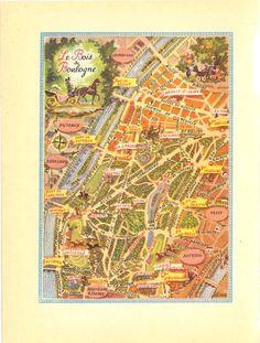 bois de boulogne vintage illustrated map paris park map city street plan 1949