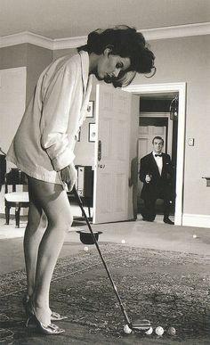 Sylvia Trench (Eunice Gayson) surprises James Bond (Sean Connery) in Dr. No (1962) (by Véronique3)