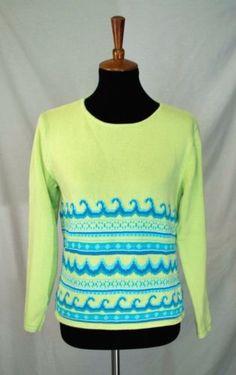 Talbots Petites Sweater 100 % Cotton Green w Blue Waves Size Medium e4fe6060d