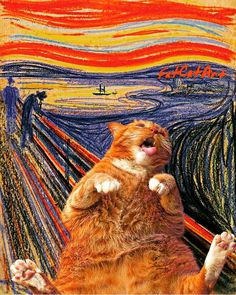 Fat Cat Art: I Insert My Ginger Cat Into Famous Paintings New Pics) - Wanderlust Crazy Cat Lady, Crazy Cats, Kittens Cutest, Cats And Kittens, Ragdoll Kittens, White Kittens, Black Cats, Amédéo Modigliani, Edvard Munch