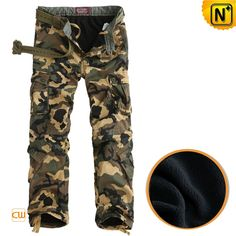 CWMALLS® Camo Trousers with Fleece Lining CW100052 - Shop camo trousers with fleece lining for men, crafted from enzyme washed cotton fabric shell with polar fleece lining, with classic camouflage patterns this cargo pants are best for those have the complex of military.