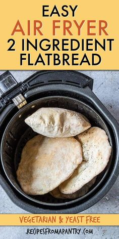 This quick & easy Air Fryer flatbread recipe requires only 2 pantry staples, one bowl & is ready in mins. A perfect kid friendly recipe, this is a homemade yogurt flatbread dough that you can turn into fun family cooking. This tasty greek, yeast free flatbread is affordable & super versatile, too. Serve Air Fryer Bread it for breakfast, lunch, a pizza base & appetizers! Click through to learn how to make flatbreads!! #flatbread #easybreadrecipe #quickbread #pantrystaples #pantryrecipes Yogurt Flatbread Recipe, Easy Flatbread Recipes, Easy Bread Recipes, Ww Recipes, Tortilla Recipes, Scone Recipes, Oven Recipes, Muffin Recipes, Baking Recipes