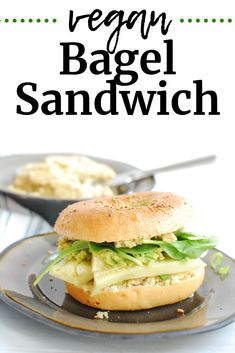 This vegan bagel sandwich is the perfect way to start your day! You'll love this vegan breakfast recipe that's packed with veggies and flavor. Vegan Bagel, Bagel Sandwich, Dairy Free Breakfasts, Vegan Breakfast Recipes, Breakfast For Kids, Salmon Burgers, Delish, Sandwiches, Veggies