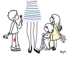 illustration - Maman (moi) et ses trois enfants (les miens) #Family