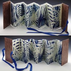 Front and back of a concertina book made with one piece of paper. The cyanotypes were exposed one side the the other before developing the…