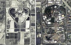 ImagineeringDisney Tumblr — Disneyland aerial views 1955 and 2011.
