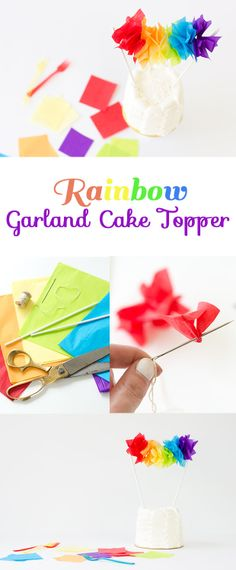 This #DIY rainbow cake topper is currently our favorite thing! Perfect for St…