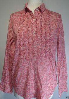 Romantic Pink RUFFLED BLOUSE Size M LS TALBOTS Stretch Top Shirt Womens #Talbots #ButtonDownShirt #Casual