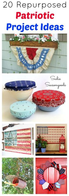 Show your spirit with these 20 Patriotic upcycled and repurposed DIY project ideas in red, white, and blue for your home and yard.