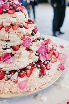 Enjoy the taste of an Eton mess with a meringue wedding cake.