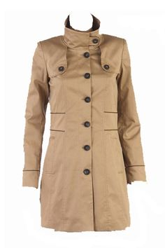 Stand-collar Single-breasted Trench Coat