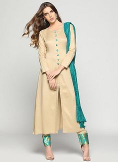 Nude jacket dress with brocade buttons and trousers & crinkle dupatta