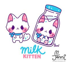 Finally updated my last missing OC: Milk kitten 💖 . Art Kawaii, Kawaii Doodles, Kawaii Chibi, Kawaii Cat, Kawaii Anime, Cute Kawaii Animals, Cute Animal Drawings Kawaii, Cute Cat Drawing, Cute Drawings