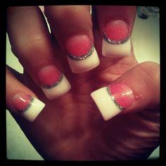 Dark Pink And White Acrylics With Silver Underline Gotta Love Gift Certificates