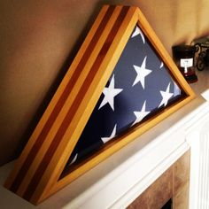 Wood Stripes Military Flag Display Case