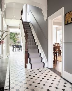 128 wonderful farmhouse hallway design ideas to revitalize your home 13 House Stairs, Home, Victorian Homes, Staircase Design, House Styles, Victorian Living Room Decor, Hallway Flooring, Hallway Designs, Victorian House Interiors