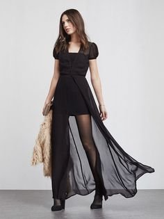 The Madori Black Dress is a sheer chiffon maxi dress with a buttoned V neckline and open skirt.   https://www.thereformation.com/products/madori-dress-black?utm_source=pinterest&utm_medium=organic&utm_campaign=PinterestOwnedPins