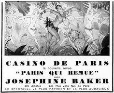 """La Vie Parisienne - 1931 - Anuncio de la revista musical """"Paris qui remue"""", que se presentó coincidiendo con la Exposición Colonial. En esta revista Josephine Baker estrenó una de su canciones más famosas: """"J'ai deux amours"""""""