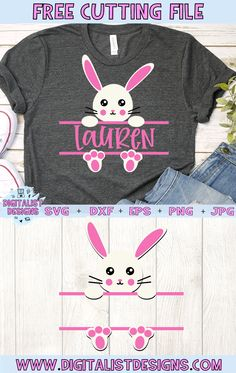 Free Split Monogram Easter Bunny SVG for Girls, DIY and Crafts, Free Split Monogram Easter Bunny for Girls SVG file! This would be amazing for a variety of DIY Easter craft projects such as: HTV T-shirts, mugs, hom. Vinyle Cricut, Diy Ostern, Cricut Creations, Mason Jar Diy, Graphic, Easter Crafts, Clipart, Branding, Craft Projects