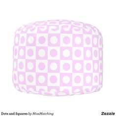 Pastel Pink Dots and Squares Pouf
