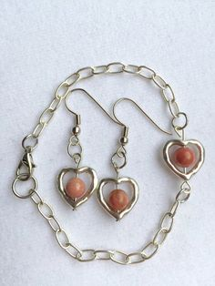 Silver Heart and Rhodonite Bracelet and by RedSilentWolfJewelry