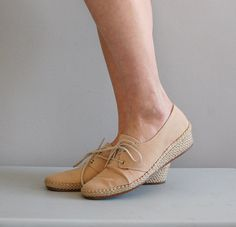 espadrille sneakers / nude canvas wedges / 70s by DearGolden, $28.00