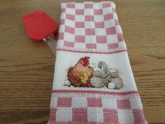 Hen with Basket of Eggs - Cross Stitch Kitchen/Tea Towel/Hostess Gift by CrossStitchbyChris on Etsy