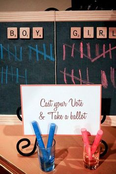 I think I'll use a white board instead.  I have been meaning to buy one for another purpose, so after the gender party I will have it for the original purpose!
