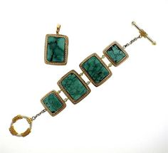 Sterling Silver 14k Gold Turquoise Pendant Bracelet Set Featured in our upcoming auction on September 13!