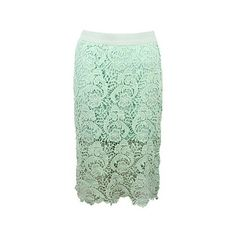 Lace Pencil Skirt With See Through Hem (70 BRL) ❤ liked on Polyvore featuring skirts, stylemoi, lace, style moi, summer, green, see through skirt, sheer skirt, summer pencil skirt and stretchy skirt